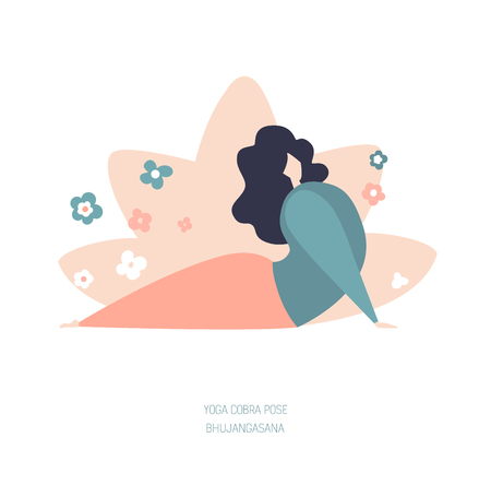 Vector illustration of a Cobra yoga pose. Cute flat female character. Oversized girl with doodle flowers and lotus behind. Yoga and meditation concept - Vector