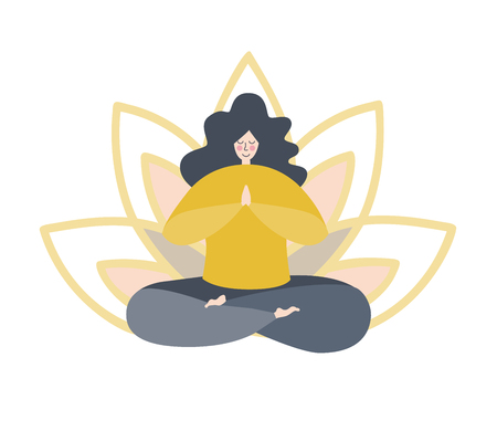 Vector illustration of a woman yawning with a flower petals behind isolated on white. Cute flat female character. Yoga and meditation logo, emblem, icon design. - Vector