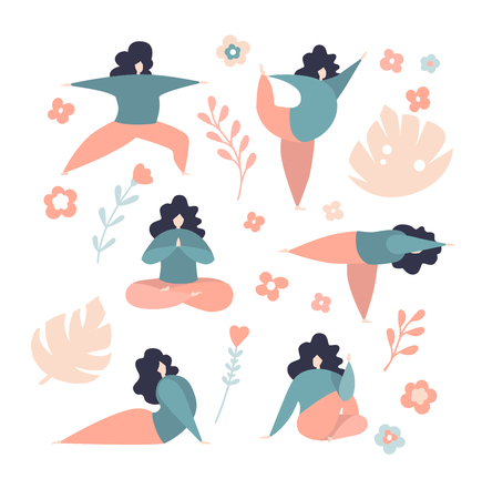 Women in different yoga poses. Modern flat characters. Cute oversized girls in pink colors with pink flowers, leaves and twigs isolated on white. - Vector