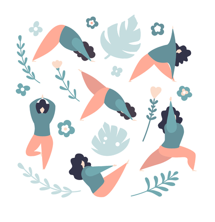 Women in different yoga poses. Modern flat characters. Cute oversized girls with flowers and leaves isolated on white. - Vector