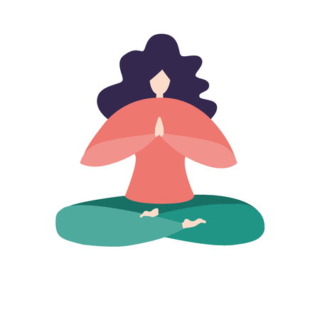 Vector illustration of a woman in the lotus pose. Modern bright flat character sitting with prayer hands. Logo, app icon, emblem design. - Vector Illustration