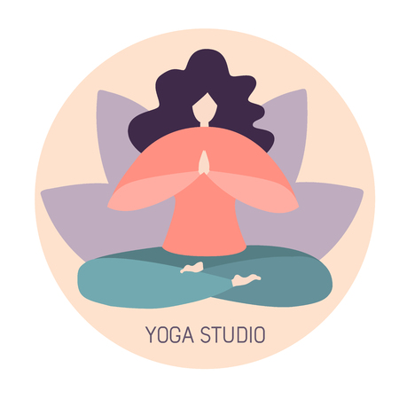 Vector minimalist illustration of a woman in a yoga lotus pose. Petals in pastel colors. Yoga studio and classes logo design. - Vector Ilustrace