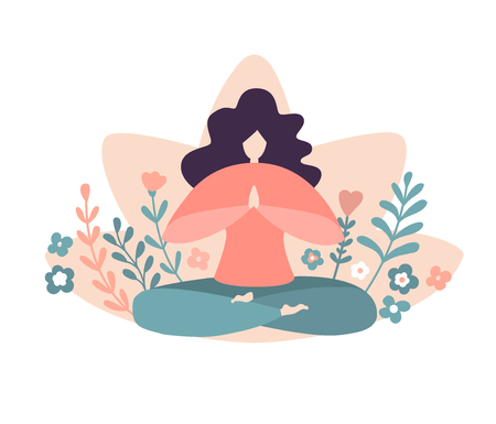Cute woman with flowers and plants. Female flat character for logo and card, banner, poster design. - Vector