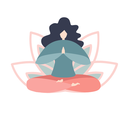 Vector illustration of a woman in the yoga lotus position. Modern bright flat character with lotus petals behind. Cute oversized girl in pastel colors isolated on white. - Vector