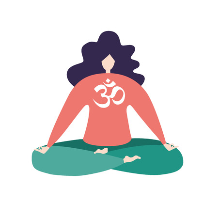 Flat pose of a buddhist religious sign Om. Modern flat character sitting, relaxing, and meditaing. Cute girl isolated on white background. - Vector