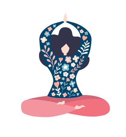 Modern vector illustration of a slimmeditating woman in the lotus pose. Cute flat character sitting and relaxing. Oversized girl with doodle flowers isolated on white. Yoga and meditation concept. - Vector