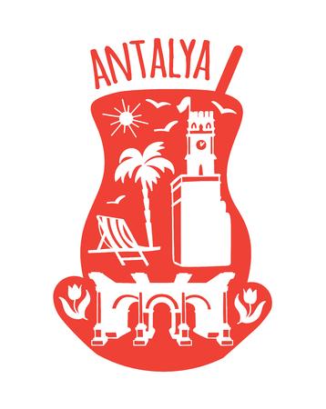 Antalya, Turkey. Travel illustration with symbols: Clock tower, Hadrians gate, tulips, palms, beach, seagulls. Doodle sketch landmarks of a traditional turkish tea glass. - Vector Ilustrace