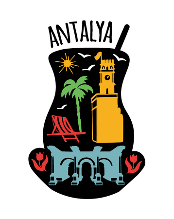 Antalya, Turkey. Travel illustration with symbols: Clock tower, Hadrian's gate, tulips, palms, beach, seagulls. Flat doodle of landmarks in a traditional turkish tea glass. - Vector Illustration