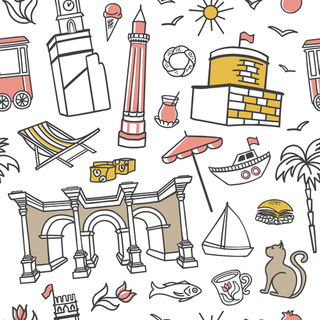 Antalya symbols. Doodles in pink, gray, yellow colors on white background. Modern clear line design for print, backdrop, wrapping paper. - Vector Illustration