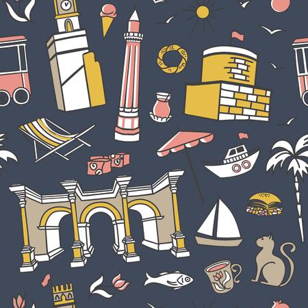 Antalya symbols. Doodles on dark blue background. Modern clear line design for print, backdrop, wrapping paper. - Vector Ilustrace