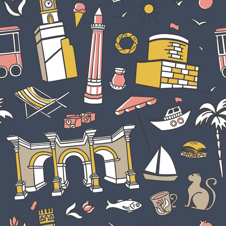 Antalya symbols. Doodles on dark blue background. Modern clear line design for print, backdrop, wrapping paper. - Vector Illustration
