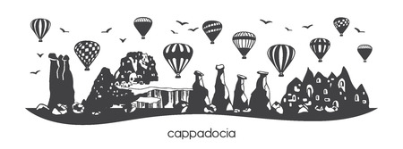 Cappadocia, Turkey. Black horizontal silhouette of famous turkish symbols and landmarks. Hand drawn doodle elements of fairy chimneys, caves, stones, hot air balloons. Panoramic banner or print design - Vector Standard-Bild - 117033749