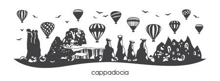Kapadocja, Turcja. Czarna sylwetka pozioma słynnych tureckich symboli i zabytków. Ręcznie rysowane doodle elementy bajki kominy, jaskinie, kamienie, balony na ogrzane powietrze. Panoramiczny baner lub projekt nadruku - Vector