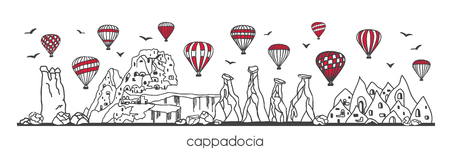 Illustration vectorielle Cappadoce, Turquie. Ligne dessinée à la main doodle symboles turcs. Scène panoramique horizontale pour la conception de bannières ou d'impressions. Style minimaliste simple avec contour noir et éléments rouges. - Vecteur