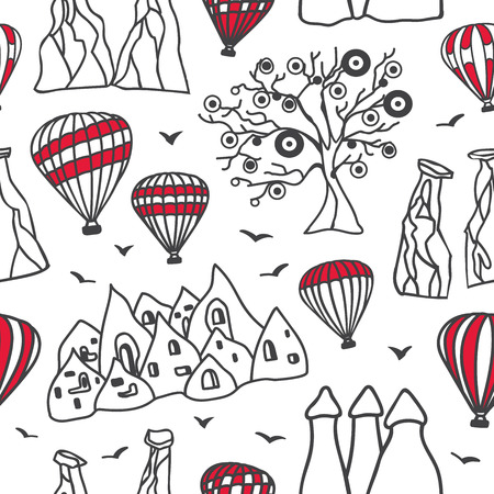 Vector seamless pattern Cappadocia. Hand drawn black outlines with red elements. Doodle sketch on white background. Modern design for touristic print, backdrop, wrapping paper. - Vector