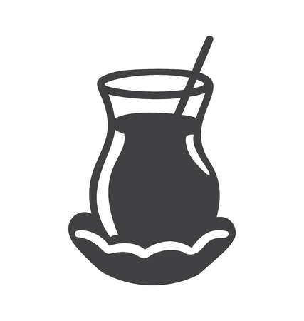 Vector illustration of a glass of traditional turquoise tea Dark gray object isolated on white. Minimalist flat design for emblem, icon design. - Vector