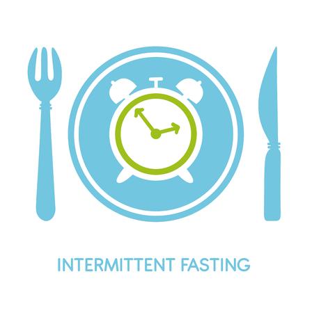 Jeûne intermittent. Illustration vectorielle d'une fourchette Carte plate moderne, affiche, bannière, dépliant - vecteur Vecteurs