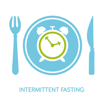Intermittent Fasting. Vector illustration of a fork Modern flat card, poster, banner, leaflet - Vector Illustration