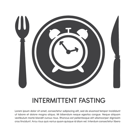 Intermittent Fasting. Vector illustration of a knife for a text. Leaflet design, poster, banner, leaflet, design. - Vector Archivio Fotografico - 117033758