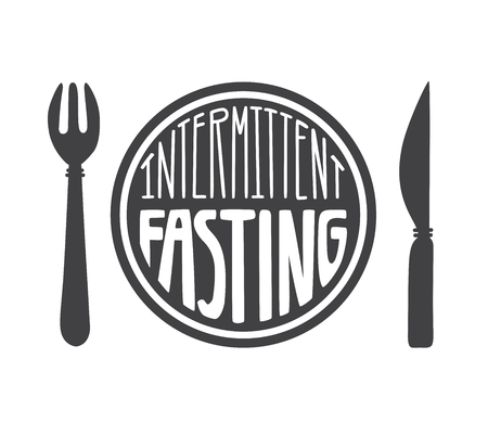 Intermittent Fasting. Vector illustration of a knife and a hand lettering. Moder flat motivational card, poster, banner, leaflet design. - Vector Illustration