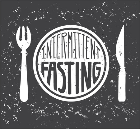 Imtermittent Fasting. Hand lettering and grunge texture. Moder flat motivational card, poster, banner, leaflet design. - Vector