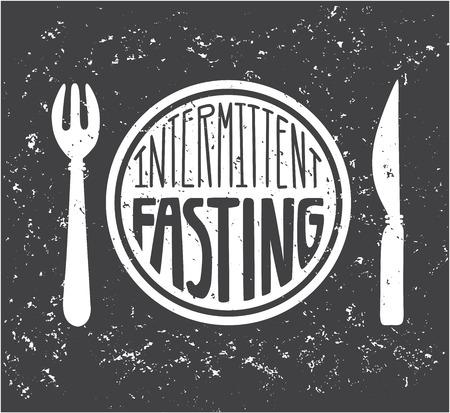 Imtermittent Fasting. Hand lettering and grunge texture. Moder flat motivational card, poster, banner, leaflet design. - Vector