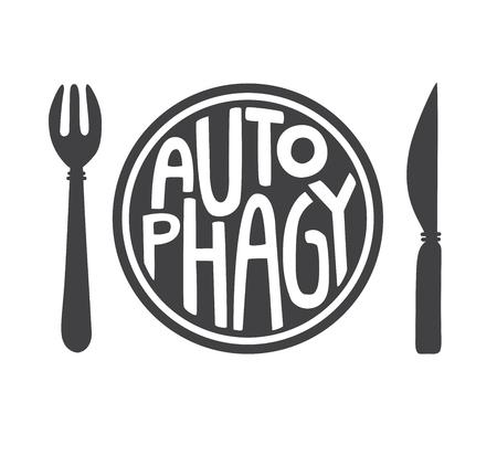 Autophagy. Flat vector illustration. Intermittent fasting theme. Motivational card, poster, banner, leaflet, flyer design. - Vector Illustration