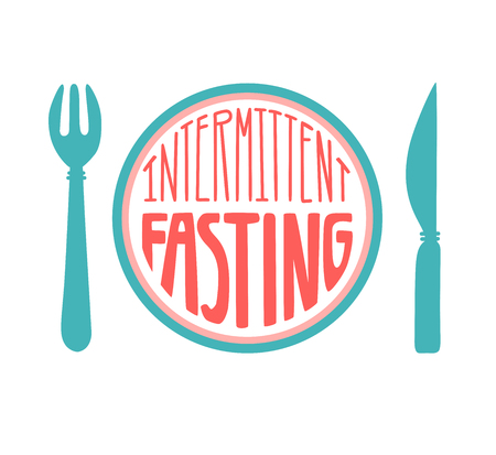 Intermittent Fasting. Filling down. Modern flat motivational design on healthy lifestyle, weight loss, diet conception. - Vector Фото со стока - 117033774