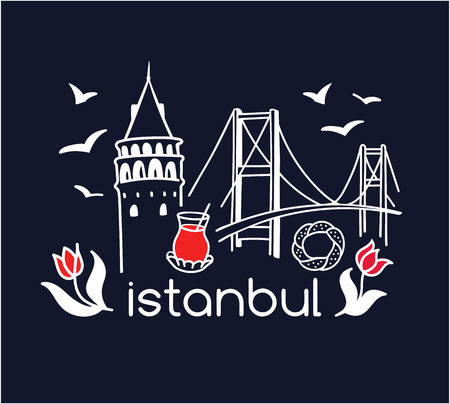 Modern turkish symbols: Galata tower, tea glass, seagull, tulip, Bosphorus bridge, simit bagel. Simple minimalistic design with black outline. - Vector