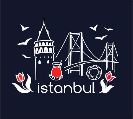 Modern turkish symbols: Galata tower, tea glass, seagull, tulip, Bosphorus bridge, simit bagel. Simple minimalistic design with black outline. - Vector