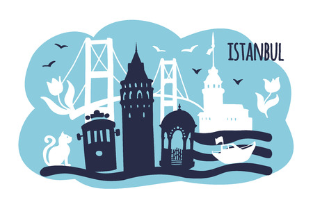 Vector illustration of Istanbul with famous landmarks and cute doodle flowers, cat and birds. Galata tower, retro tram, Maiden tower, Bosphorus bridge, the fountain. Modern card or leaflet design - Vector