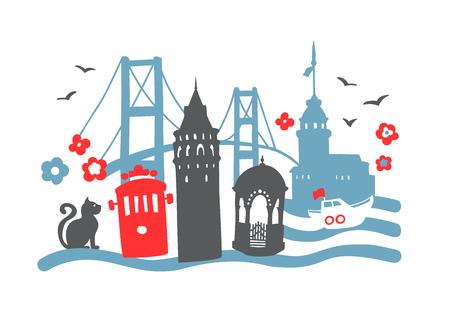 Zabytki Stambułu. Ręcznie rysowane doodle tureckie symbole: wieża Galata, tramwaj, most Bosfor, wieża Maiden, fontanna, kot, prom, mewa. Płaski minimalistyczny design w kolorach niebieskim, czerwonym, czarnym. - Wektor Ilustracje wektorowe
