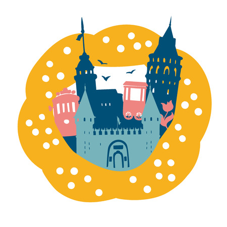 Beautiful vector illustration Istanbul. Turkish symbol landmarks in a frame of a sesame bagel Simit. Palace gate, Galata tower, Maiden tower, tram, bagel vendor. Dark blue, gray, yellow colors. - Vector