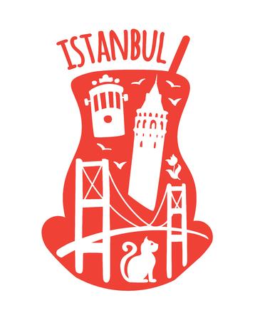 Istanbul, Turkey. Travel illustration of famous turkish symbols: Galata tower, Bosphorus bridge, retro tram, cat, tulip, seagull. Landmarks doodle objects in traditional tea glass. - Vector