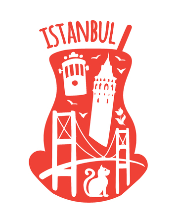 Istanbul, Turkey. Travel illustration of famous turkish symbols: Galata tower, Bosphorus bridge, retro tram, cat, tulip, seagull. Landmarks doodle objects in traditional tea glass. - Vector