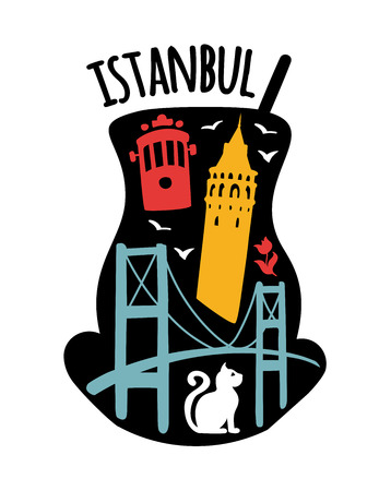 Istanbul, Turkey. Travel illustration of famous turkish symbols: Galata tower, Bosphorus bridge, retro tram, cat, tulip, seagull. Flat landmarks in a traditional tea glass. - Vector