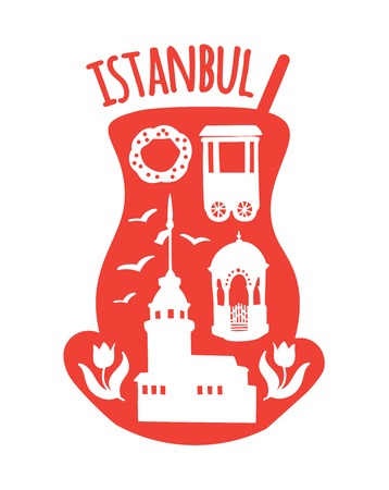 Istanbul, Turkey. Travel illustration of famous turkish symbols: Maiden tower, the fountain, bagel vendor, simit, tulips, seagull. Doodle landmarks in a traditional tea glass. - Vector