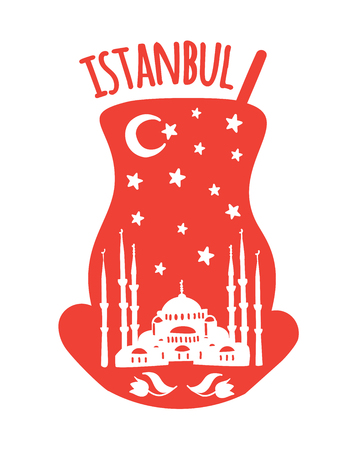 Istanbul, Turkey. Travel icon of the Sultan Ahmet Blue Mosque, crescent moon, night sky with stars. Landmarks doodle traditional tea glass landmarks - Vector