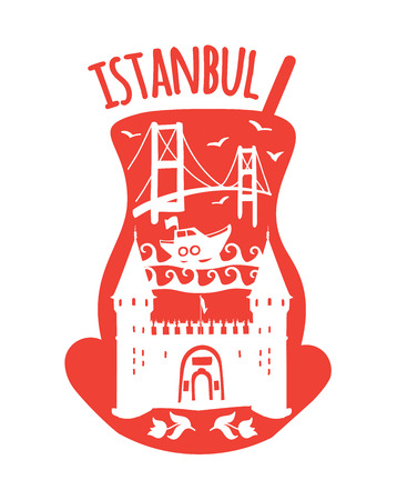 Istanbul, Turkey. Travel illustration of famous turkish symbols: Bosphorus bridge, boat, sea, the ottoman palace entrance gate. White doodle landmarks in a traditional tea glass. - Vector