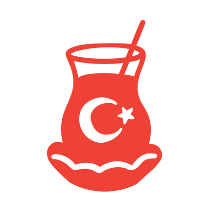 Vector illustration of a glass of traditional turkish tea. Red icon isolated on white. Minimalist flat design for emblem, icon design. - Vector