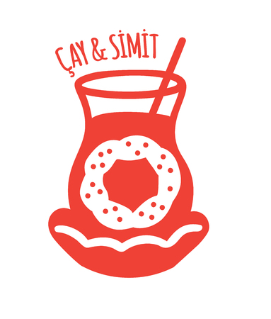 Sesame bagel and black tea. Red flat icon for bakery, cafe, restaurant.