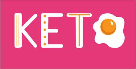 Keto. Yolk on a pink background. Ketogenic, horizontal card Illustration