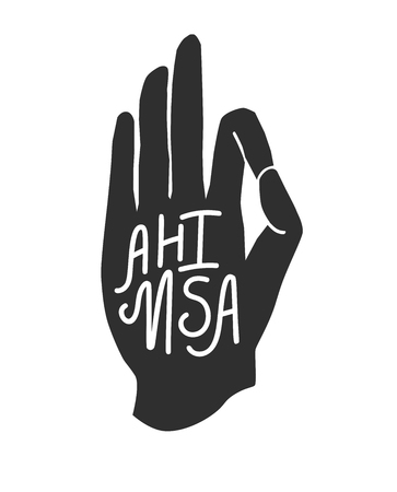 Ahimsa. Modern illustration of a palm tree in a meditating pose with hand lettering isolated on white. Buddhism, hinduism and yoga concept for typography print design. Illustration