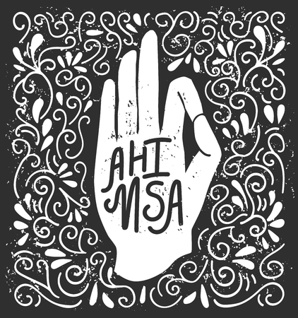 Ahimsa. illustration of a white background with a swirls. Buddhism and hinduism concept print, poster, flyer and card design.