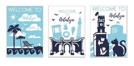 Welcome to Antalya. Travel to Turkey concept. Set of three illustrations with silhouette of Antalya in modern flat style. Card, poster, flier, print design for travel promotion.