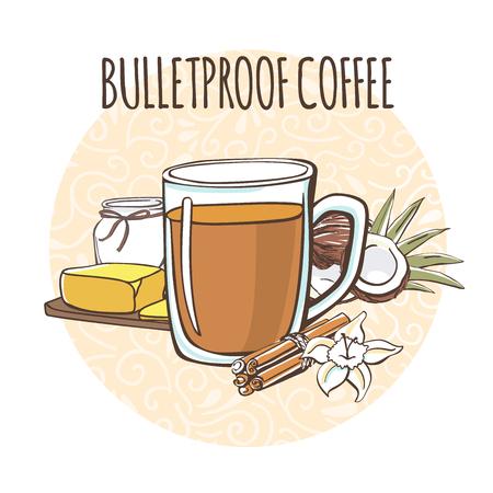 Café a prueba de balas. Ilustración de un aceite de cafeína y mantequilla. Bebida caliente en taza sobre un fondo de círculo con remolinos de doodle en blanco.