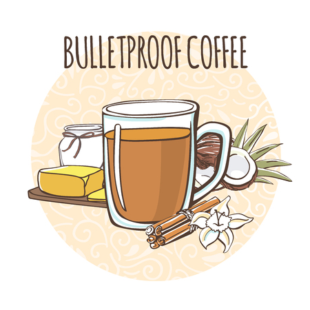 Bulletproof coffee. illustration of a caffeine oil and butter. Hot beverage in mug on a circle background with doodle swirls on white.