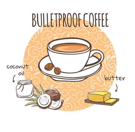 Café a prueba de balas. Ilustración de aceite de coco y mantequilla. Bebida caliente en una taza blanca sobre un fondo de círculo con remolinos de doodle en blanco.