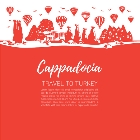 Cappadocia Travel to Turkey. square illustration of a famous turkish travel destination. Red square background with skyline