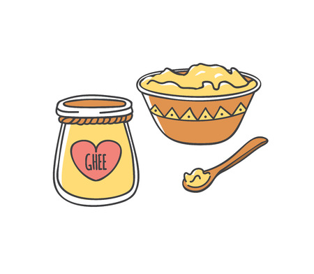 Ghee. illustration of traditional Indian ghee butter. Cute doodle jar with a decorative rope and a heart shaped label. Wooden plate and spoon. Healthy eating and Culinary topic.